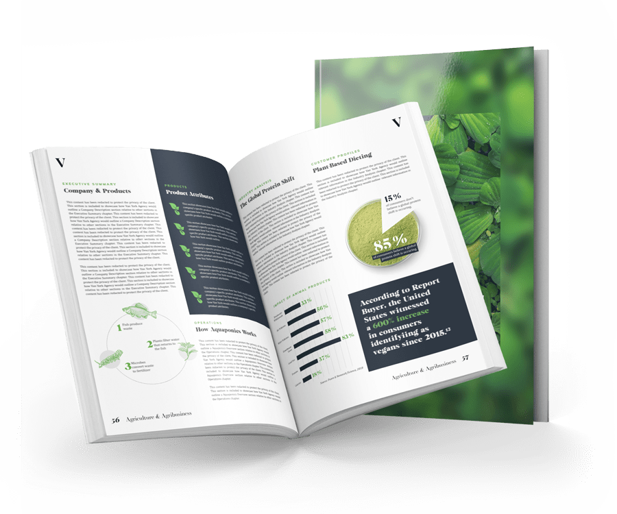 open micro greens business plan showing data and illustrations