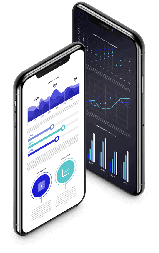 two angled smartphones showing data in graphs