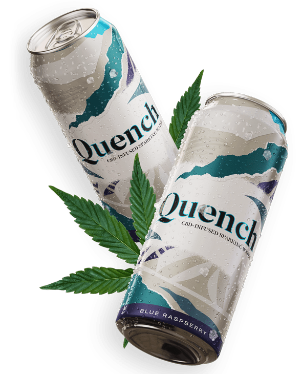 two tall cans showing cannabis beverage branding with pot leaf