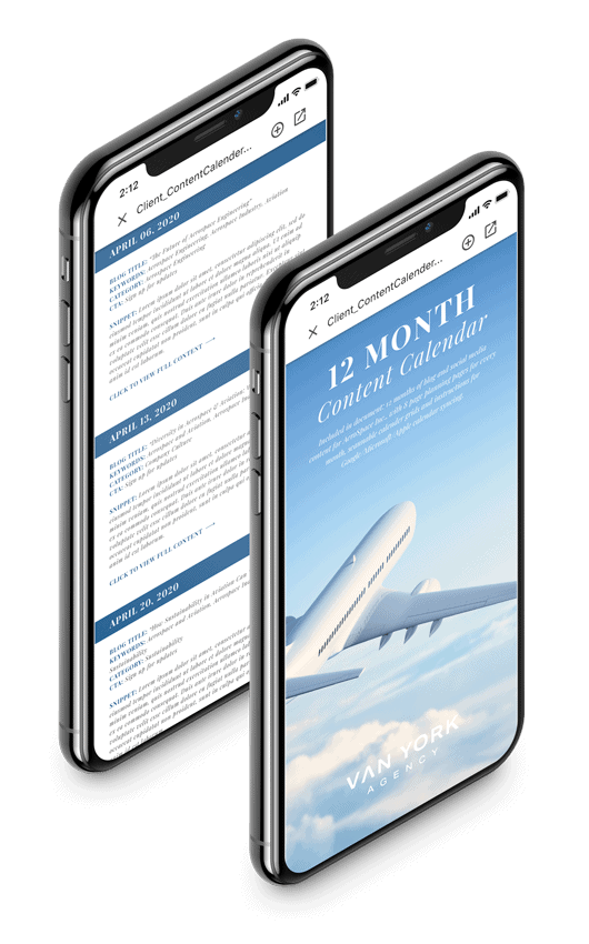 two smartphones with content and picture of plane