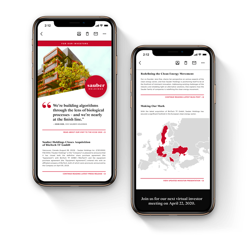 two smartphones with email marketing examples