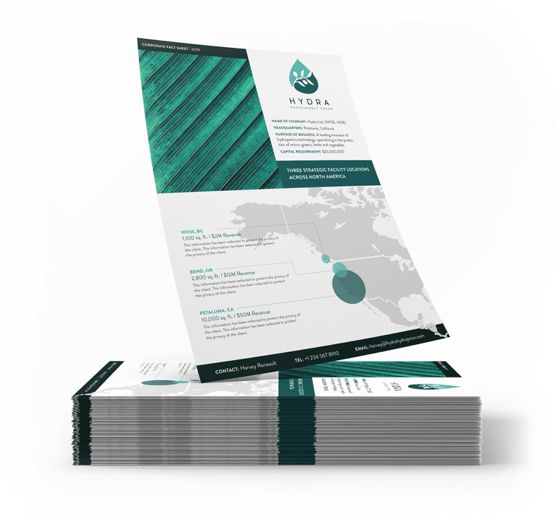 stack of fact sheets with one on top showing graphic design and content