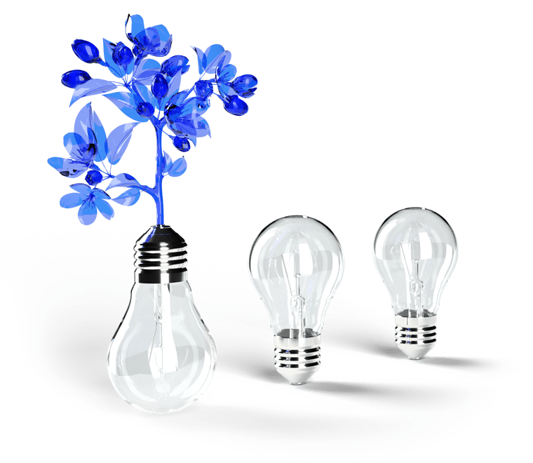 illustration of lightbulbs with flowers coming out of the inverted base of one