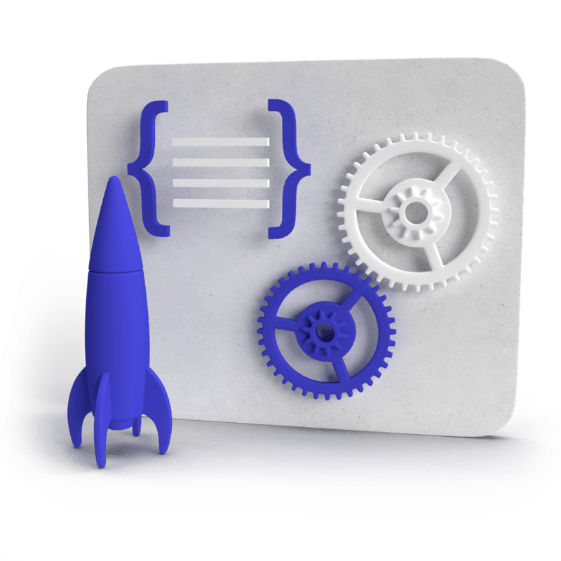 3d illustration of web design process with rocket and gears