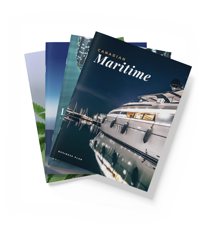 stack of four business plans with top cover showing a luxury yacht