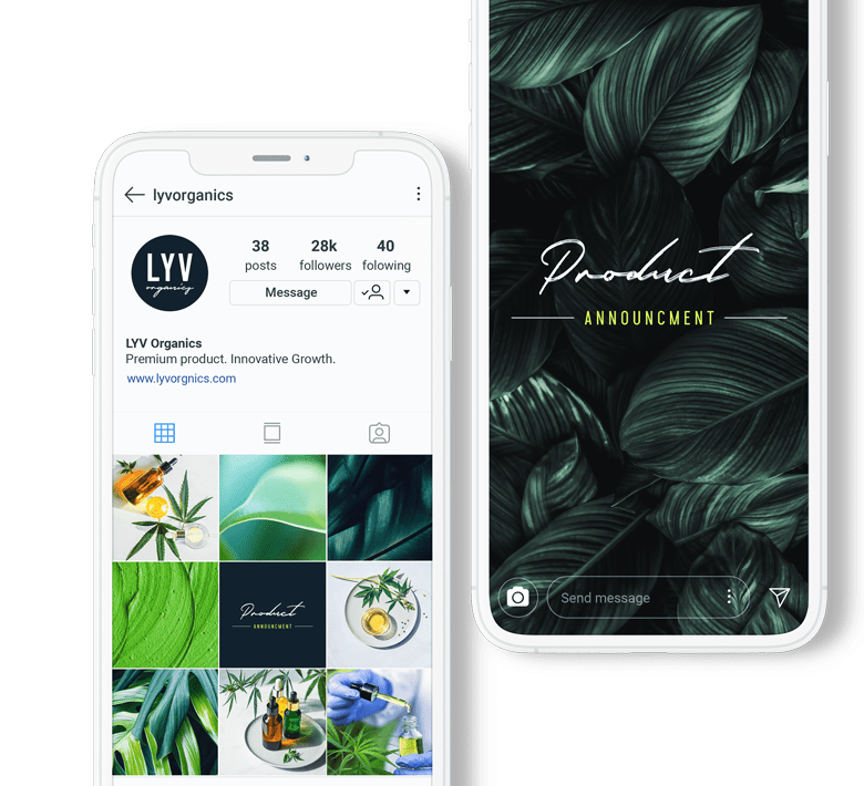 two smart phones showing examples of cannabis social media marketing